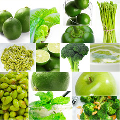 green healthy food collage collection