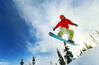 Snowboarder jumping - 76419224