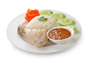 Steam Chicken with Rice on white background