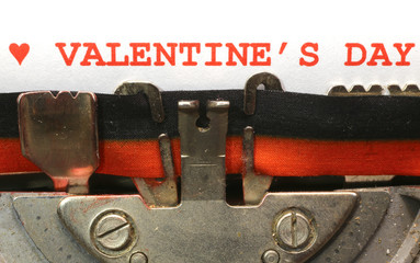 written with the typewriter Valentines Day in red ink