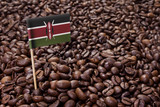 Flag of Kenya sticking in coffee beans.(series)