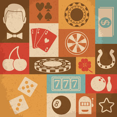 Casino retro icons set. Vector illustration