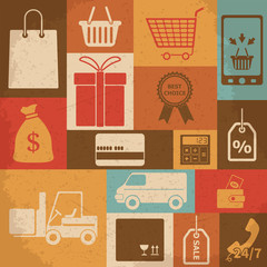 Retro shopping icons. Vector illustration