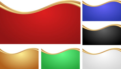 set of isolated abstract banners with golden divider