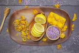 Fototapety Natural beauty care, lemon, lavender and marigold or Calendula