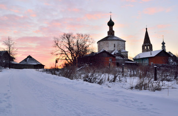 Cosmas and Damian Church in Suzdal during sunset Russia