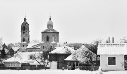 Russian village outskirts black and white