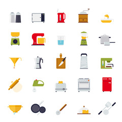 Flat Design Cooking and Kitchen Vector Icon Set