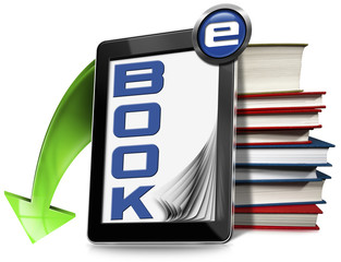 E-Book Symbol with Tablet and Books