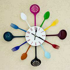 Kitchen clock witch spoon and fork.