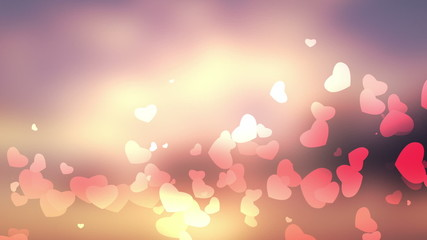 glittering heart on bokeh video background loop