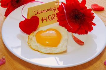 Romantic breakfast on valentine's day.