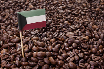 Flag of Kuwait sticking in coffee beans.(series)