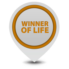 Winner of life pointer icon on white background