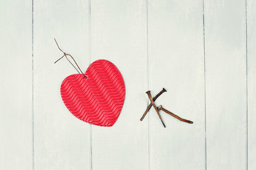 Paper Heart and Three Rusty Nails