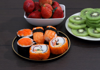 sushi and fruit
