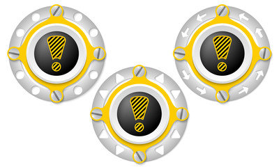 Set of three icons with perforated ring and exclamation mark