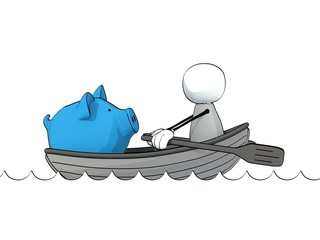 little sketchy man in a rowboat with a big blue piggy bank