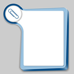 blue box for any text and paper clip