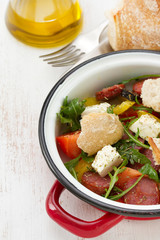 salad with sausages and bread