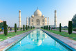 Leinwanddruck Bild - The morning view of Taj Mahal monument