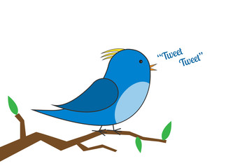 blue and yellow bird on a branch tweeting vector