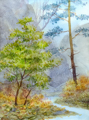 Watercolor landscape. Mountain brook in autumn forest