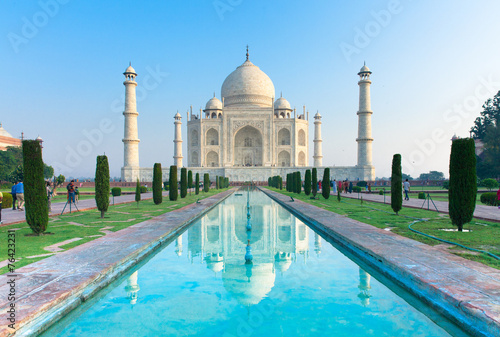 The morning view of Taj Mahal monument - 76423231