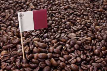 Flag of Malta sticking in coffee beans.(series)