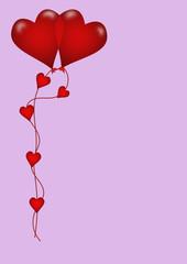 due palloncini cuori rossi sfondo lilla