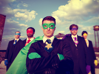 Businessmen Superhero Team Confidence Power Pride Concept