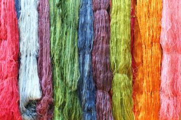 Colorful raw silk thread