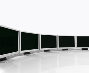 many 3D television, computer screens isolated on white