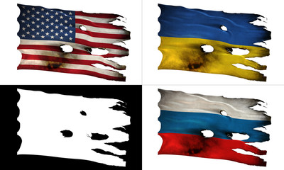 US, UA, RU, perforated, burned, grunge fluttering flag alpha