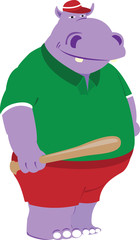Hippopotamus with a baseball bat