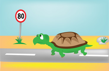 Turtle on the road looking at the speed sign