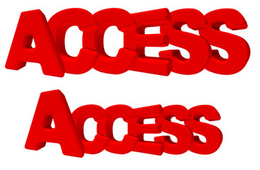 Access accesso parola 3d rossa, isolata su fondo bianco