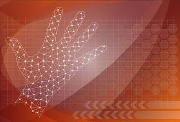 vector abstract hand, future technology background