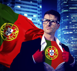 Businessman Superhero Country Portugal Flag Culture Concept