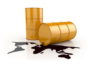 Oil Spill in Planet Shape and Barrels isolated.