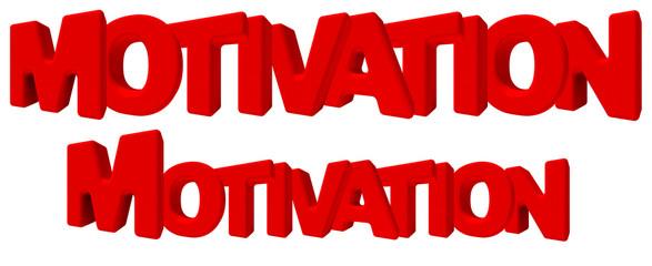 Motivation Motivazione parola 3d rossa, isolata su fondo bianco