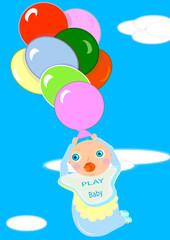 Bebé jugando con unos globos de gas