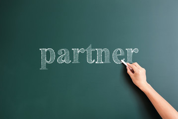 partner written on blackboard