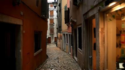 Small alley in Pula Croatia glidecam footage