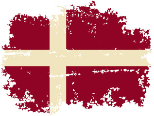 Danish grunge flag. Vector illustration.