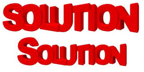 solution soluzione parola 3d rossa, isolata su fondo bianco