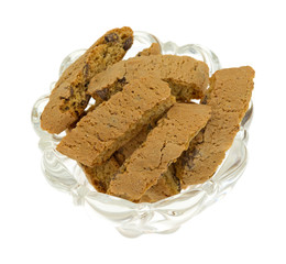 Cantuccini in a glass bowl
