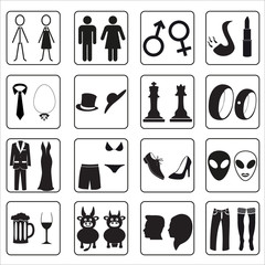 man and woman public toilets icons eps10