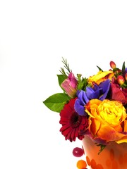 A flower arrangement with brightly colored flowers