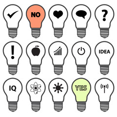 light bulb symbols with various idea icons eps10